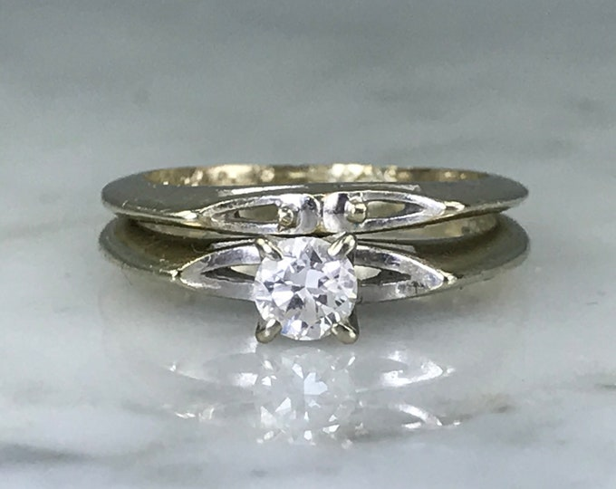 Wedding Ring Bridal set with Diamond Engagement Ring and Gold Wedding Band. Circa 1950s