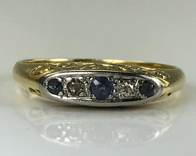 Sapphire Wedding Band with Diamond Accents st in 18K Yellow Gold. Sapphire Stacking Ring. September Birthstone. 5th Anniversary. Estate