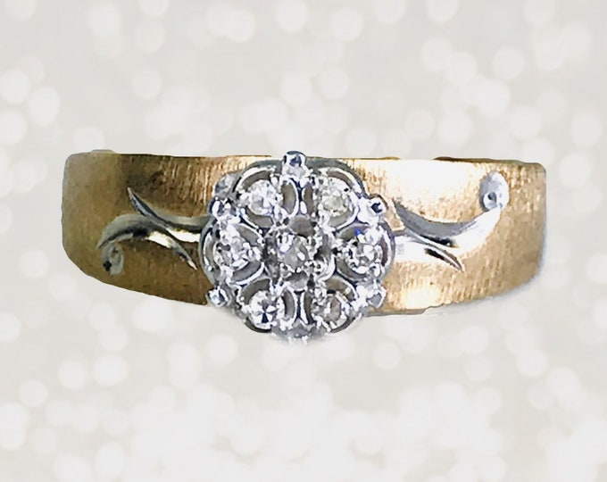 Art Nouveau Diamond Engagement Ring in 10K Yellow Gold. Estate Jewelry. April Birthstone. 10 Year Anniversary Stone.