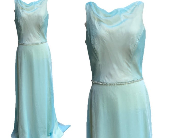 Vintage 1980s Blue Chiffon Gown by Bill Levcoff. Vintage Wedding or Formal Event Dress. Vintage Bride or Bridesmaid Dress.