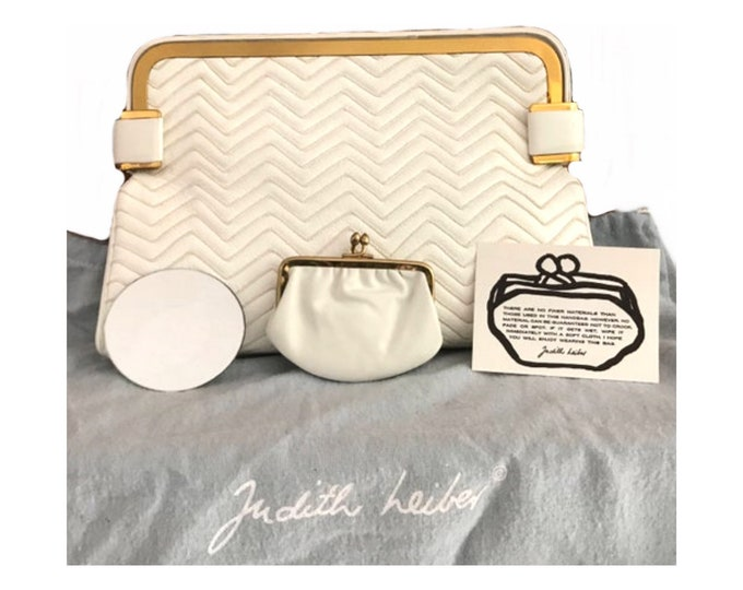 1970s Judith Leiber Cream Quilted Clutch with a Chevron Design and Gold Tone Trim. Also Includes Coin Purse, Mirror, and Dust Bag.