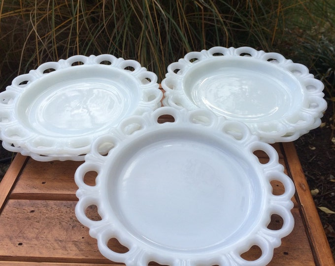 Vintage Opaline Glass Plates. Set of 5. Reticulated Edge. Dessert Plates. 8 inch. Milk Glass Plate. Collectible. Iridescent. Tableware