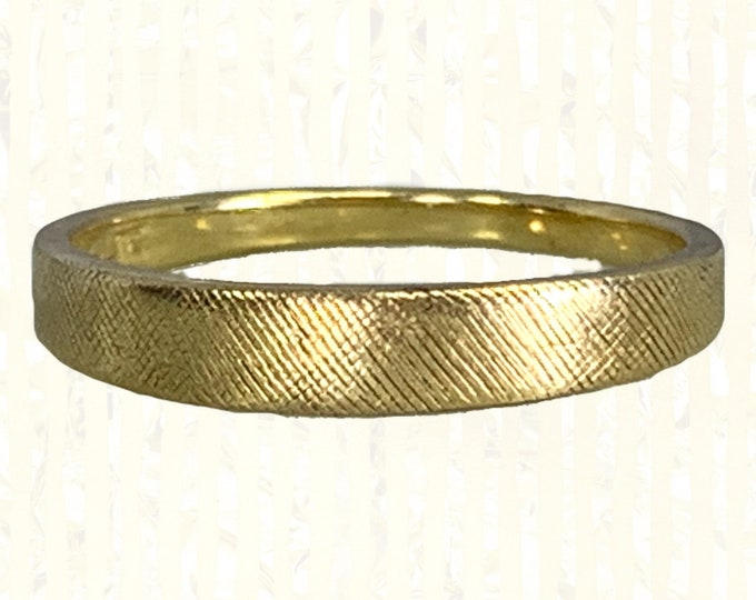 1950s Vintage Yellow Gold Wedding Band with a Satin Finish. Mid Century Style Perfect for a Stacking Ring. Estate Fine Jewelry.