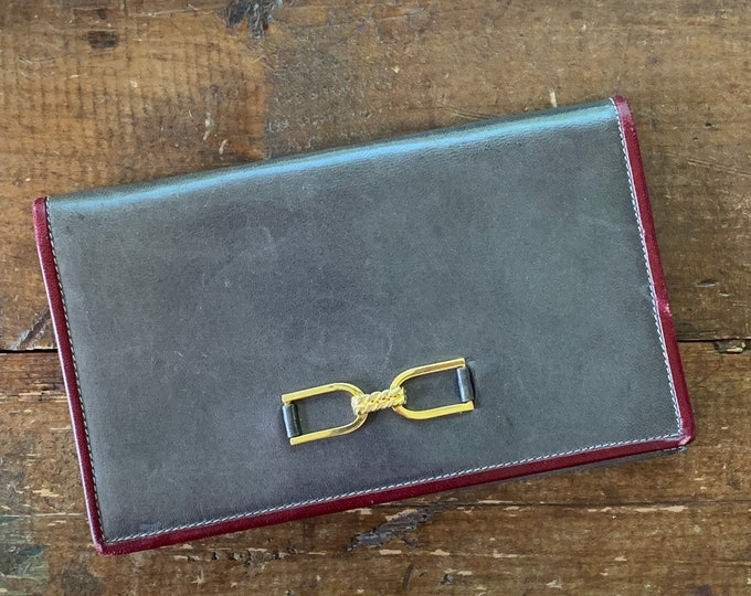 Gray Leather Clutch with Burgundy and Gold Accents. Perfect Fall Bag. Circa 1970s