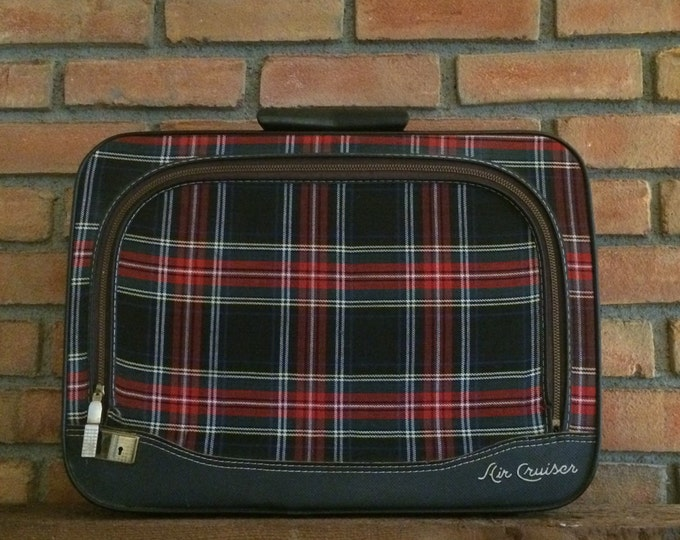 Vintage Plaid Suitcase. Air Cruiser by Leeds. Red Plaid Luggage. Train Case. Overnight Bag. Specialty Bag or Purse.