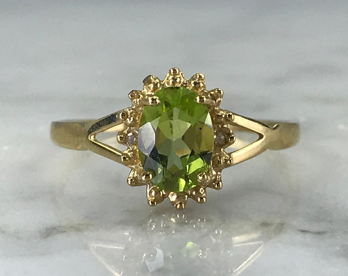 Vintage Peridot Ring. Diamond Accents. 10K Yellow Gold. Unique Engagement Ring. August Birthstone. 16th Anniversary Gift. Estate Jewelry