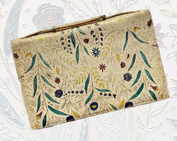 1950s Leather Clutch with Hand Dyed Floral Design. Perfect Spring / Summer Statement Bag. Sustainable Vintage Fashion.