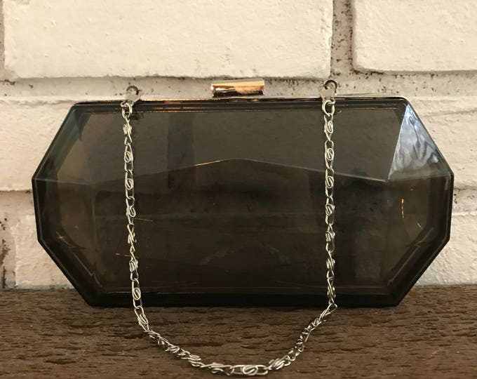 Vintage 1960s Translucent Gray Lucite Clutch. Geometric Shaped Evening Bag with Silver Accents. Sustainable Vintage Fashion Accessory.