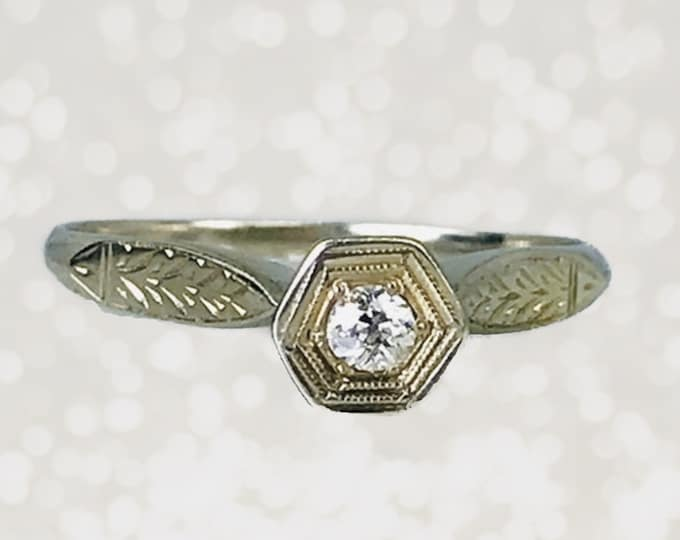 1920s Diamond Engagement Ring in an Art Deco 14K Gold Setting. Unique Engagement Ring. Sustainable Vintage Jewelry.
