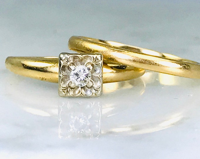 1960s Diamond Engagement Ring and Gold Wedding Band Set by Keepsake Brand. Unique Bridal Set. Estate Jewelry.