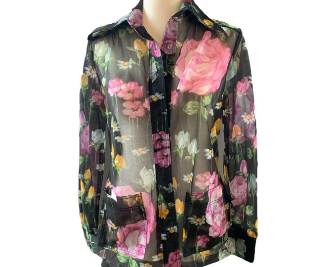 Vintage Black Sheer Floral Blouse or Jacket by Three Flagg. Vintage Fashion Statement Piece.