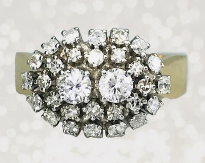 1920s Art Deco Diamond Cluster Cocktail Ring in 14K Gold. Unique Engagement Ring. April Birthstone. 10 Anniversary Gift.
