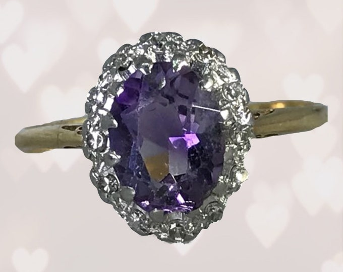 Vintage Amethyst Ring. Diamond Halo. 14k Gold Setting. Unique Engagement Ring. Estate Jewelry. February Birthstone. 6th Anniversary Stone.