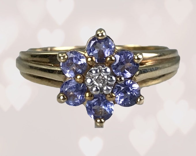 1980s Tanzanite and Diamond Ring set in a 10k Yellow Gold Floral Setting. December Birthstone. 24th Anniversary Gift. Estate Jewelry.
