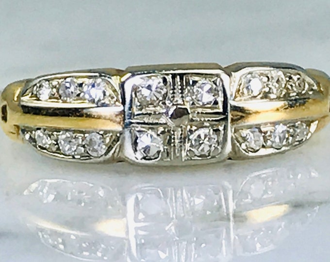 Art Deco Diamond Wedding Band or Alternative Engagement Ring in Yellow and White Gold. Estate Jewelry. Diamond Gold Stacking Ring.