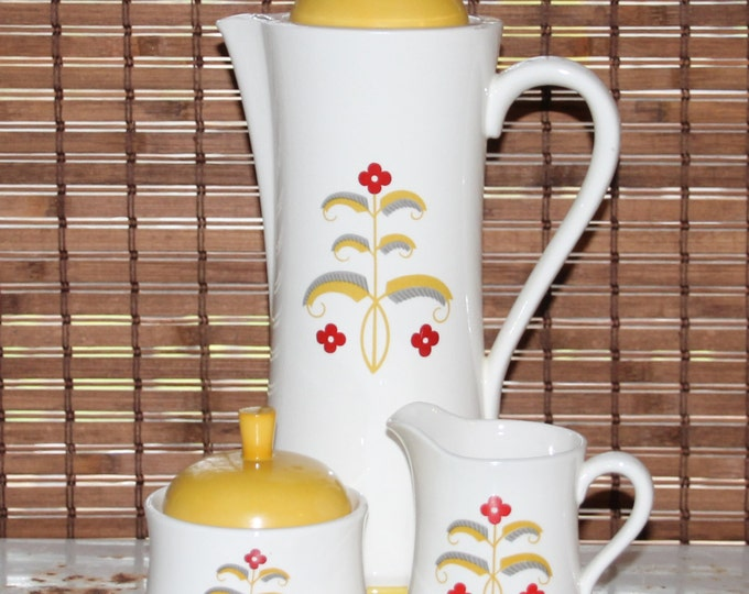 Vintage Coffee Server / Pitcher and Matching Cream and Sugar Set 1970 Cream with yellow and red floral design.