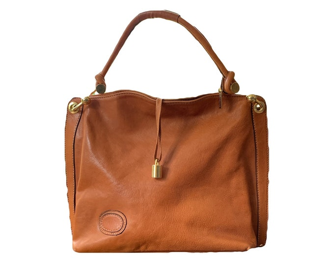 Vintage Designer Brown Leather Purse From Jacobson's. Large Tote Bag. 1990s Sustainable Vintage Fashion Accessory.