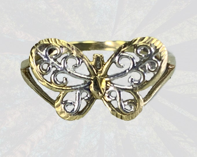 Vintage 1970s Gold Butterfly Ring in 10K Yellow and White Gold. A Wonderful Graduation Gift. Sustainable Estate Jewelry.