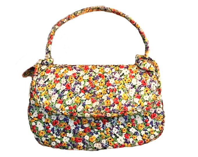 Vintage Saks Fifth Avenue Purse. Authentic Coblentz Bag. Yellow Red and Blue Floral Clutch. 1950s Sustainable Vintage Fashion Accessory.