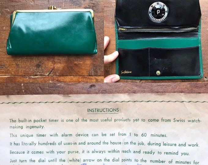 Vintage Leather Clutch / Wallet from Saks Fifth Avenue with built in Timer. Forest Green Leather. You have to see it to believe it.