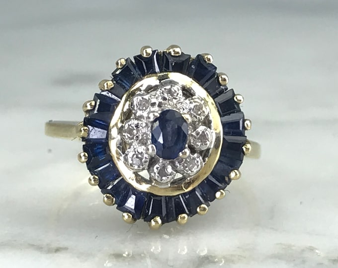 Vintage Sapphire and Diamond Halo Cluster Ring. Unique Engagement Ring. September Birthstone. 5th Anniversary Gift. Estate Jewelry