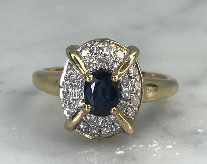 Vintage Sapphire Ring. Diamond Halo. 14K Yellow Gold. Unique Engagement Ring. September Birthstone. 5th Anniversary Gift. Estate Jewelry.