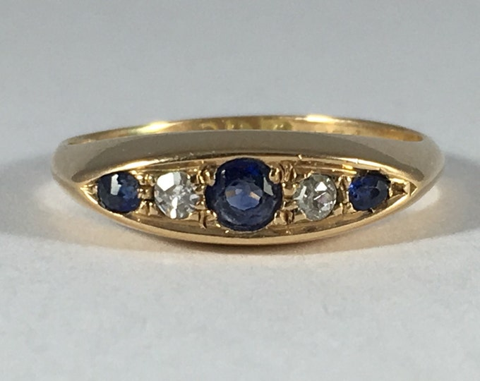 Vintage Spinel Diamond Ring. 18k Yellow Gold. Wedding Band. Unique Engagement Ring. August Birthstone. 65th Anniversary. Estate Jewelry