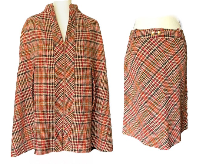 Vintage Womens Wool Houndstooth Plaid Suit with Cape and Skirt from Kingsley. Sustainable Fall Fashion Circa 1960s. Equestrian Chic.