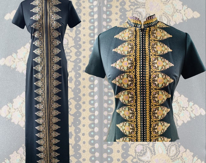 Vintage Shaheen Kimono Style Dress in Black with Gold Green and Purple Paisley Accents.