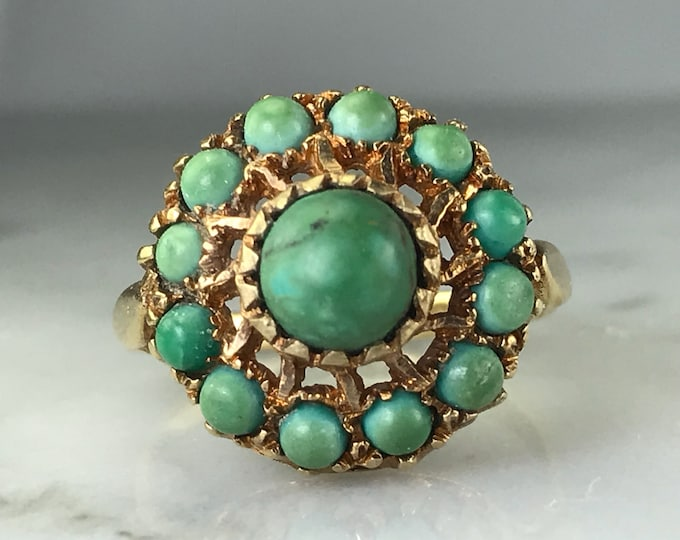Vintage Green Turquoise Cluster Ring. Unique Engagement Ring. Estate Fine Jewelry. December Birthstone.