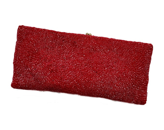 1940s Ruby Red Glass Beaded Clutch by Saks Fifth Avenue Belgium. Old Hollywood Glamour Evening Bag. Sustainable Vintage Fashion Accessory.
