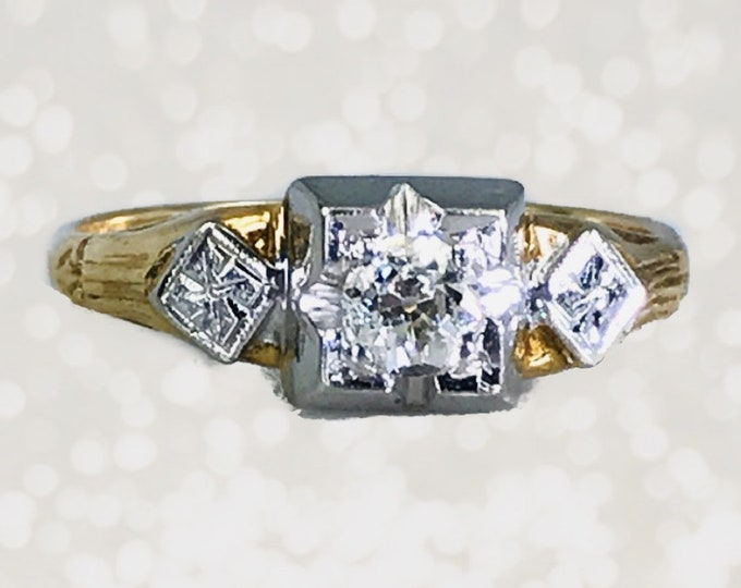 1920s Art Deco Diamond Engagement Ring in 14K White and Yellow Gold. Unique Antique Estate Jewelry.