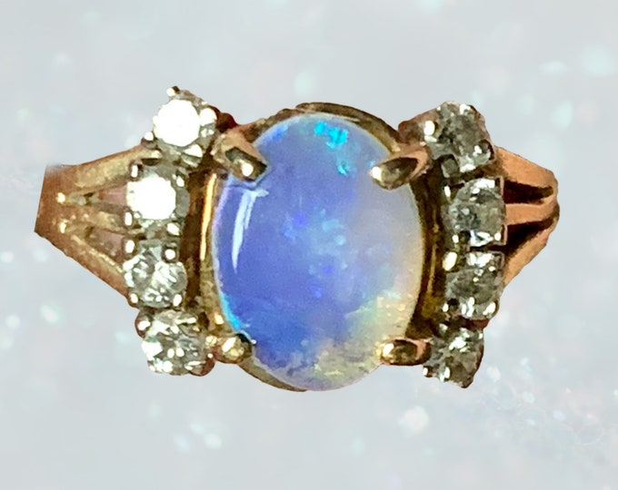 1940s Opal and Diamond Engagement Ring set in 14K Yellow Gold. October Birthstone. 14th Anniversary. Estate Jewelry. Sustainable Vintage.