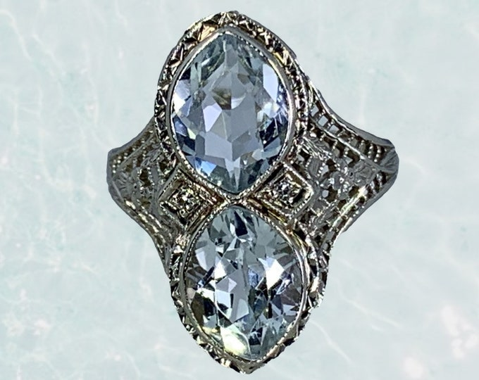 1920s Art Deco Aquamarine Ring with Diamond Accents in a 14k White Gold Filigree Setting. Unique Engagement Ring. March Birthstone.