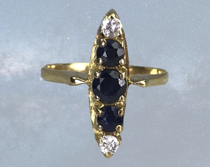 Antique Sapphire and Diamond Ring in a 14K Yellow Gold Modernist Setting. September Birthstone. Sustainable Estate Jewelry. Circa 1910s
