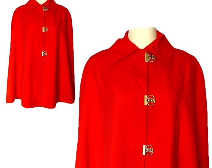 Vintage Womens Red Cape by Jerold. Perfect Spring or Fall Jacket in a Poncho Style. Sustainable Clothing Circa 1960s.