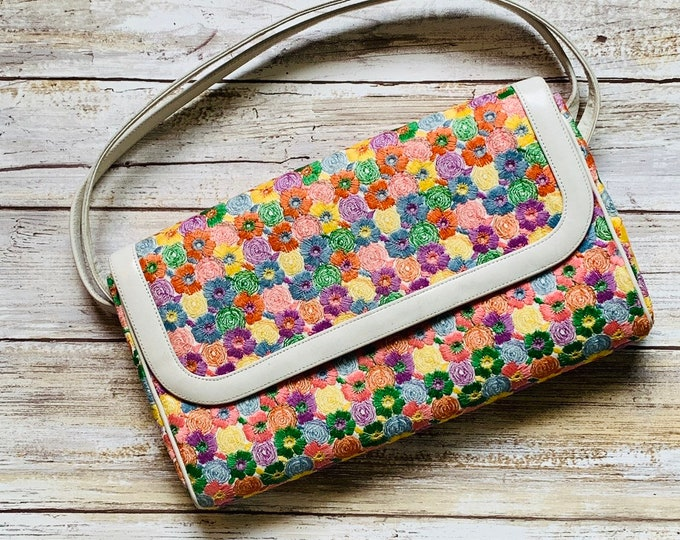 Vintage Embroidered Coblentz Clutch for Saks Fifth Avenue Purse. Colorful Embroidered Flowers.