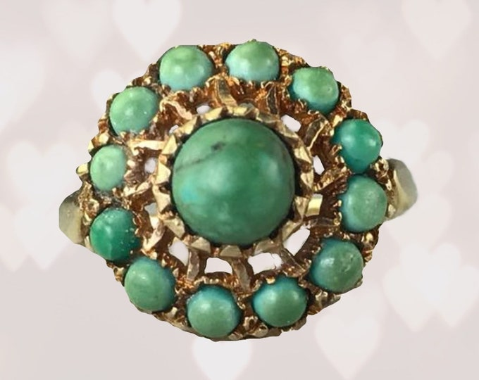 Antique 1920s Green Turquoise Cluster Ring in Yellow Gold. Unique Engagement Ring. Estate Fine Jewelry. December Birthstone.