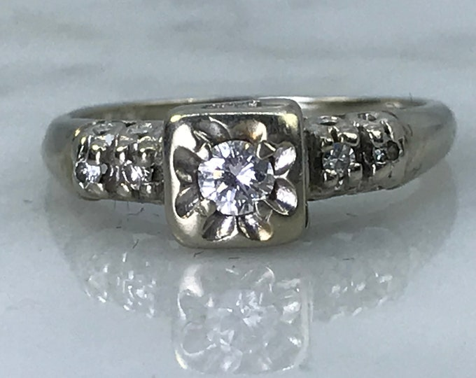 Art Deco Diamond Engagement Ring in White Gold. Unique Engagement Ring. April Birthstone. 10 Year Anniversary