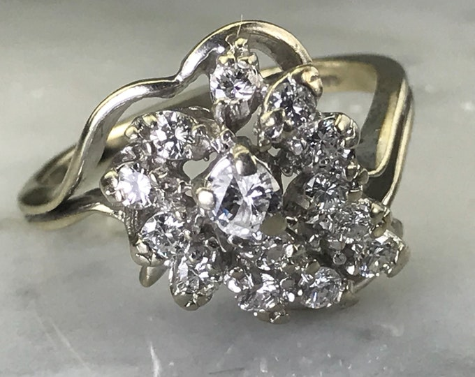 Vintage Diamond Cluster Ring. 14K White Gold. Unique Engagement Ring. April Birthstone. 10 Year Anniversary. Estate Fine Jewelry. Appraised.