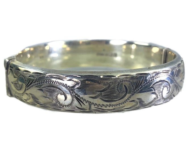 Vintage Sterling Silver Bangle Bracelet with Scroll Etching from England. 1990s Bohemian Estate Jewelry. Full English Hallmark.