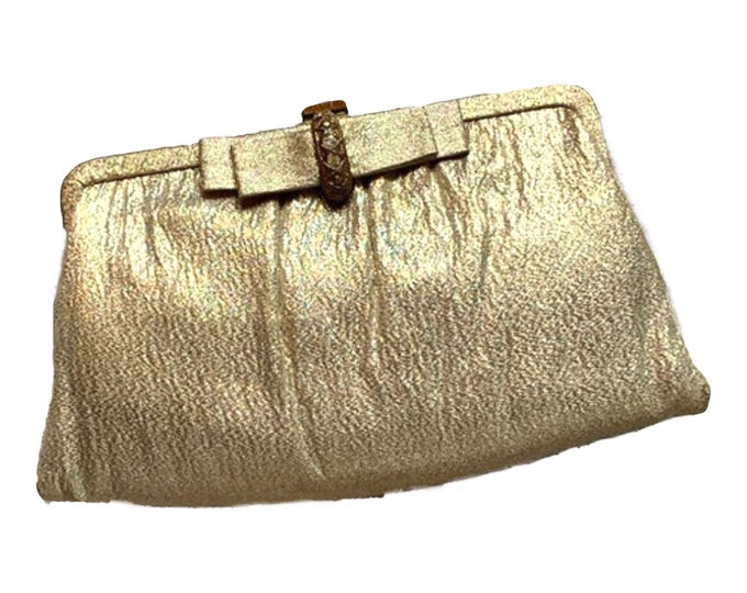 Vintage Gold Lame Clutch with Rhinestone Bow Closure. Perfect Metallic Statement Accessory of Sustainable Fashion Circa 1960s.