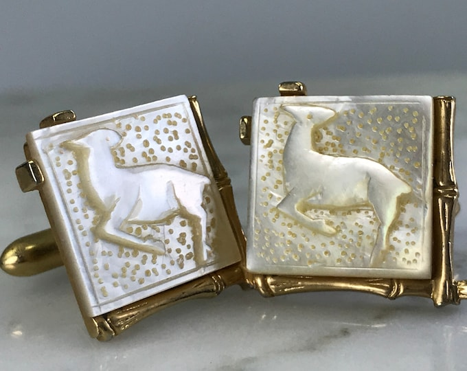 Vintage Mother of Pearl Cuff Links by Swank. Carved Gazelle Design with Gold Tone Base. Gift for Him. Grooms Gift. Gifts Under 100.