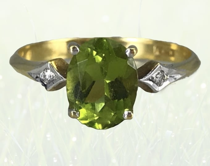 1930s Peridot Engagement Ring in 18K Gold with Diamond Accents. August Birthstone. 16th Anniversary Gift. Estate Jewelry.