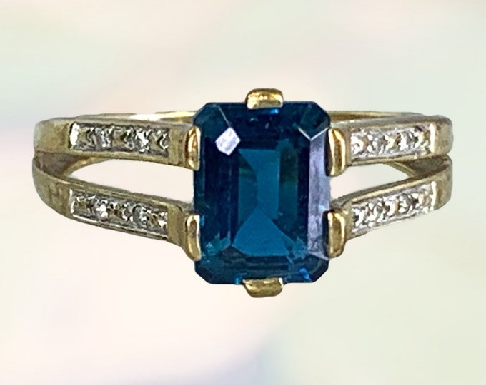 Antique 1910s London Blue Topaz and Diamond Ring in Yellow Gold. Unique Engagement Ring. 4th Anniversary Gift. Estate Fine Jewelry.