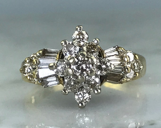 Diamond Cluster Ring. 10K Yellow Gold. Art Deco. Unique Engagement Ring. April Birthstone. 10 Year Anniversary. Vintage Estate Jewelry