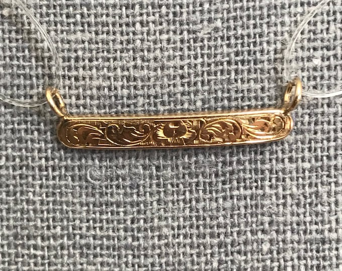 Antique Gold Bar Pendant. 14K Yellow Gold. Scroll Design. Upcycled Diaper Pin. Reclaimed Estate Fine Jewelry. Circa 1800s. Gift for Her.