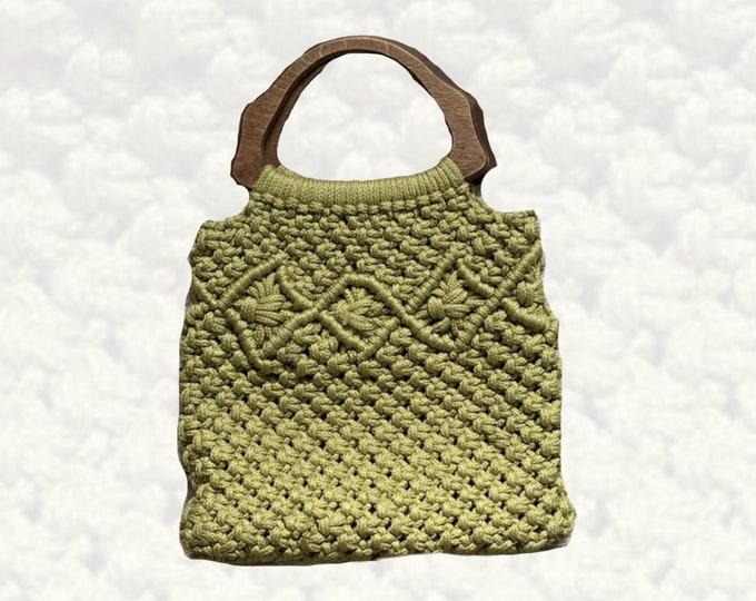 1970s Avocado Green Macrame Bag with Wooden Handles. Perfect Bohemian Summer Purse.