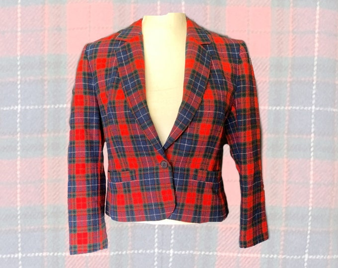 Vintage Red Plaid Short Wool Jacket or Bolero by Pendleton. Trending Fashion. 1970s Vintage Style. Sustainable Clothing.