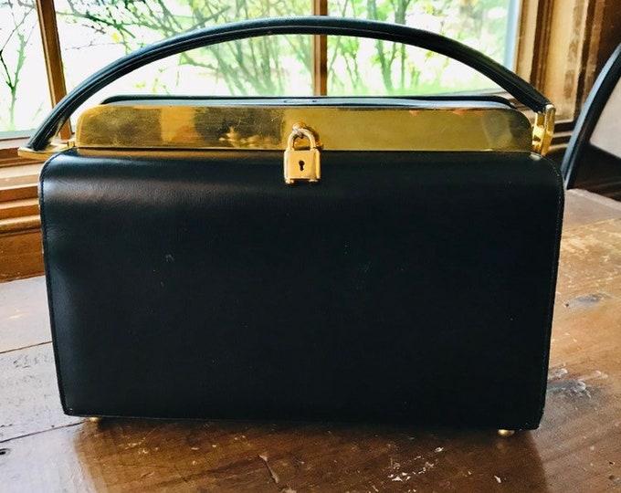 Nettie Rosenstein Black Leather Handbag. Perfect Little Black Purse. Vintage 1950s Bag.
